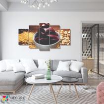 Quadro Decorativo 5 Peças Mosaico Açaí Saudavel - Decorestudio