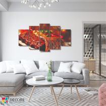 Quadro Decorativo 5 Peças Mosaico Carne Assada - Decorestudio