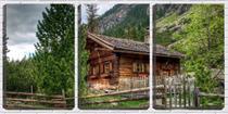 Quadro Decorativo 55x110 casa de madeira ao pé da montanha - Crie Life