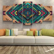 Quadro Decorativo Abstrato Geométrico Ilusão Óptica Quarto Sala Conjunto 5 Parede Moderno Escritório - Toque Pop