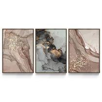 Quadro Decorativo Abstrato Mármore Cinza Âmbar Dourado Sala Recepção Entrada Escritório c/ Vidro - Ateliê Dos Quadros