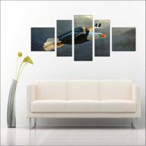 Quadro Decorativo Águia Voando Mosaico 5 Peças Salas - Vital