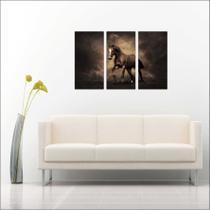 Quadro Decorativo Animais Cavalo Salas 3 peças Com Moldura - Vital Quadros
