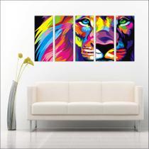 Quadro Decorativo Animais Leão Mosaico Moderno 5 Peças GG1 - Vital quadros do brasil