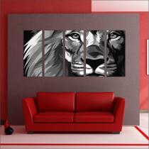 Quadro Decorativo Animais Leão Mosaico Moderno 5 Peças GG2 - Vital quadros do brasil