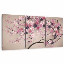 Quadro Decorativo Arte Árvore Cerejeira Para Quarto Sala em Tecido - Framez