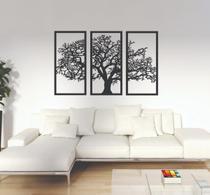 Quadro Decorativo Árvore Da Vida 3 Peças Madeira Preta King - L&C Laser