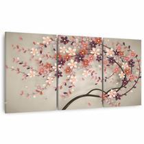 Quadro Decorativo Árvore de Cerejeira Para Quarto Sala Conjunto 3 Peças - Framez