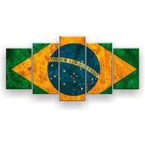Quadro Decorativo Bandeira Do Brasil  129x61 5pc Sala - Império Dos Quadros