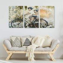 Quadro Decorativo Bicicleta Com Crianças - Caverna Quadros