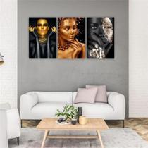 Quadro Decorativo Canvas Mulheres Negras Maquiagem Dourada - Decorativa