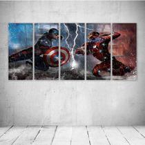 Quadro Decorativo - Captain America 3 Civil War Marvel - Composto de 5 Quadros - Decormob