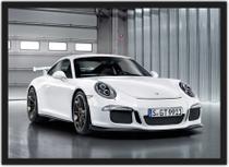 Quadro Decorativo Carro Porsche Branco Quartos Salas Decoração Com Moldura - Vital Quadros