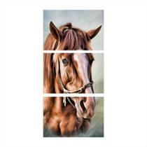 Quadro Decorativo Cavalo Artístico Vertical Mosaico 3 Peças - Decorestudio
