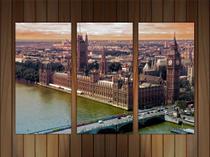Quadro Decorativo Cidade Londres Salas Decorações 3 peças Com Moldura - Vital Quadros
