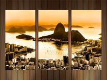 Quadro Decorativo Cidade Rio De Janeiro Decorações 3 peças Com Moldura - Vital Quadros