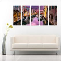 Quadro Decorativo Cidade Veneza Itália Mosaico Com 5 Peças GG1 - Vital quadros do brasil