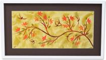 Quadro Decorativo com Moldura Branca Floral Colorida 90x50cm DP051 - Decore pronto