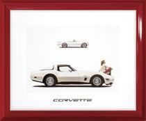 Quadro Decorativo com Moldura Retrô Carro Antigo Corvette 60x50cm - Decore pronto