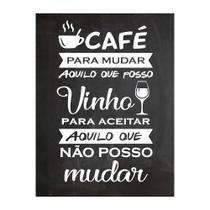 Quadro Decorativo Cozinha Frase Café/ Vinho 30x40cm Cantinho Gourmet - D.Lima Produtos
