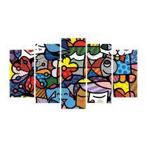 Quadro decorativo de 5 peças estilo mosaico romero brito 02 - New Decor