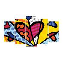 Quadro decorativo de 5 peças estilo mosaico romero brito 05 - New Decor