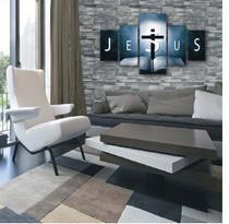 Quadro Decorativo em Mosaico Mdf Biblia Jesus Religioso Facil Instalação Sala Quarto Sem pregar Forte Fixação Envio rapido Não desbota - Crossart