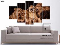 Quadro Decorativo Familia De Leões Mosaico 5 Peças - Decorestudio