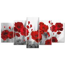Quadro Decorativo Flor de Amapolas Vermelho Quadro Sala Kit - Creative Frames
