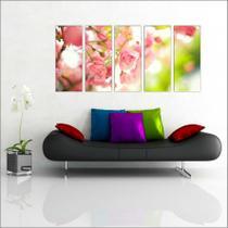 Quadro Decorativo Flor Rosa Salas Decorações Mosaico 5 Peças GG15 - Vital quadros do brasil