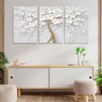 Quadro Decorativo Flores Cerejeira Branca 3P Sem Moldura Decoração Sala Quarto - CAVERNA QUADROS