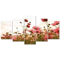 Quadro Decorativo Flores No Por Do Sol Mosaico Sala Kit - Creative Frames