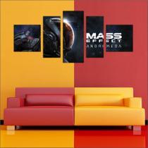 Quadro Decorativo Game Mass Effect Mosaico 5 Peças Salas Quartos TT1 - Vital