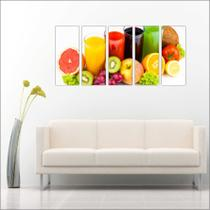 Quadro Decorativo Gourmet Frutas Sucos Cozinhas Restaurantes Mosaico 5 Peças GG14 - Vital quadros do brasil