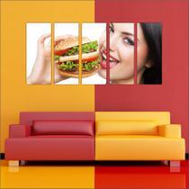 Quadro Decorativo Gourmet Nutrição Hambúrguer Mosaico 5 Peças - Vital quadros do brasil