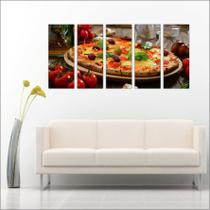 Quadro Decorativo Gourmet Pizzarias Pizza Food 5 Peças GG7 - Vital quadros do brasil