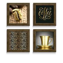 Quadro Decorativo Grão Café Objetos Dourado Preto Lettering Cozinha Cantina Gourmet Cafeteria - Ateliê Dos Quadros