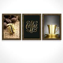 Quadro Decorativo Grão Café Objetos Lettering Dourado Cozinha Padaria Área Gourmet Copa Cafeteria - Ateliê Dos Quadros