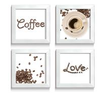 Quadro Decorativo Grãos Desenhando Frase Love Coffee Para Amantes de Café Cantinho do Café - Ateliê Dos Quadros
