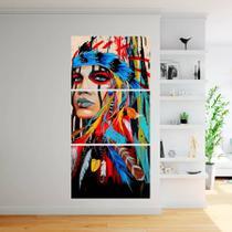 Quadro Decorativo India Americana Indigena 160x65cm - Quadros mais