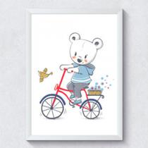 Quadro decorativo infantil Ursinho bicicleta - Caverna Quadros