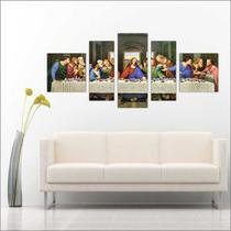 Quadro Decorativo Jesus Leao Juda Para Sala 5 Peças Mosaico - Católico Sou