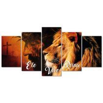 Quadro Decorativo Leao Juda Ele Vive Reina Jesus Cristo - Creative Frames