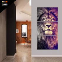 Quadro Decorativo Leão Mosaico 3 Peças 120x60 Em Tecido - Neyrad