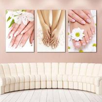 Quadro decorativo manicure pe e mão sala 3 peças - Leron