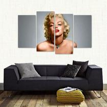 Quadro Decorativo Marilyn Monroe Quarto Em Tecido 4 Peças 1 - Wall frame