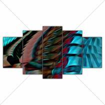Quadro Decorativo Marrom 5 Peças Abstrato Luxo Mosaico - Decorestudio