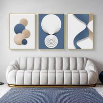 Quadro decorativo Moderno abstrato poster azul ouro branco geométrico - Neyrad