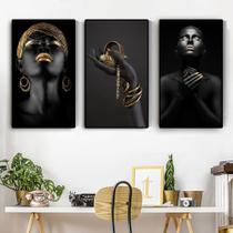 Quadro decorativo mosaico 3 peças decoração 3 painéi de mão preta africano nude contemplador - Neyrad