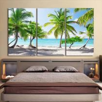 Quadro decorativo mosaico 3 peças decoração lar sala quarto copa tamanho grande praia descanso - Neyrad